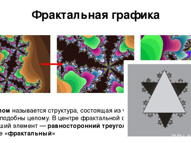 Фрактальная графика Фракталомназывается структура, состоящая из частей, которые в каком-то смысле подобны целому. В центре фрактальной фигуры находится её простейший элемент —равносторонний треугольник, который получил название«фрактальный»