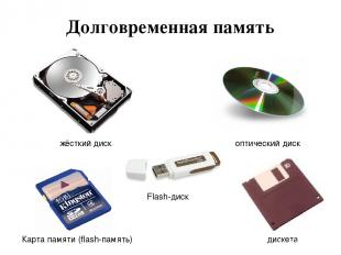 Долговременная память жёсткий диск оптический диск Карта памяти (flash-память) F