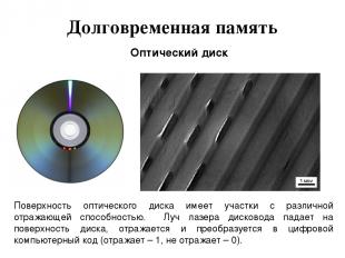 Долговременная память Оптический диск Поверхность оптического диска имеет участк