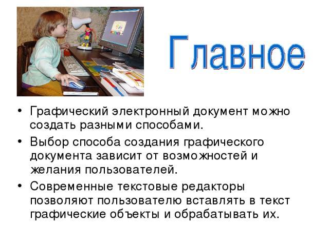 Графический электронный документ можно создать разными способами. Выбор способа создания графического документа зависит от возможностей и желания пользователей. Современные текстовые редакторы позволяют пользователю вставлять в текст графические объ…