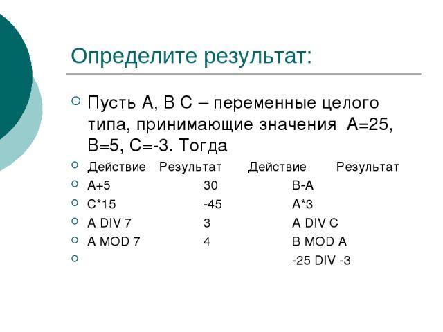 Определите результат: Пусть A, B C – переменные целого типа, принимающие значения А=25, В=5, С=-3. Тогда Действие Результат Действие Результат А+5 30 В-А С*15 -45 А*3 A DIV 7 3 A DIV C A MOD 7 4 B MOD A -25 DIV -3