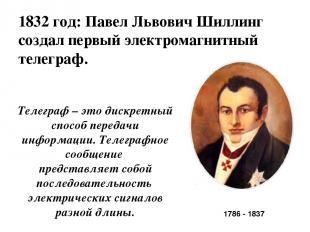 1832 год: Павел Львович Шиллинг создал первый электромагнитный телеграф. 1786 -