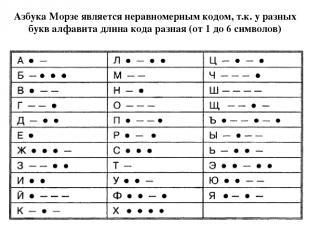 Азбука Морзе является неравномерным кодом, т.к. у разных букв алфавита длина код