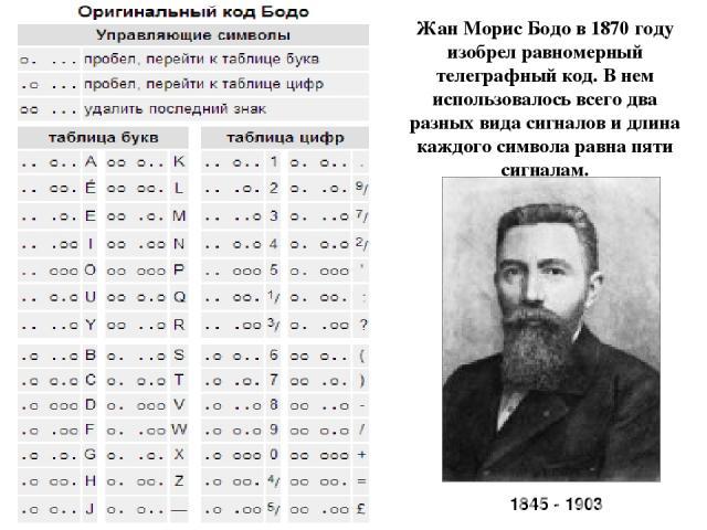 Жан Морис Бодо в 1870 году изобрел равномерный телеграфный код. В нем использовалось всего два разных вида сигналов и длина каждого символа равна пяти сигналам. 1845 - 1903