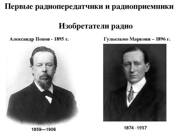 Первые радиопередатчики и радиоприемники 1859—1906 Изобретатели радио Александр Попов - 1895 г. Гульельмо Маркони – 1896 г. 1874 -1937
