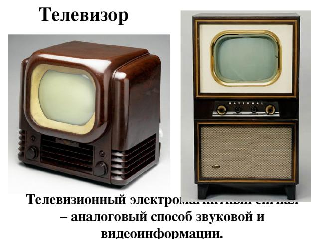 Телевизор Телевизионный электромагнитный сигнал – аналоговый способ звуковой и видеоинформации.