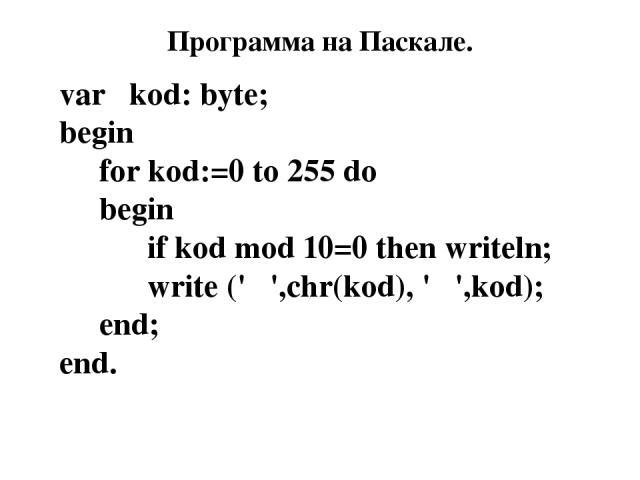 Программа на Паскале. var kod: byte; begin for kod:=0 to 255 do begin if kod mod 10=0 then writeln; write (' ',chr(kod), ' ',kod); end; end.