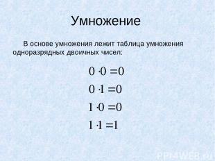 Умножение В основе умножения лежит таблица умножения одноразрядных двоичных чисе