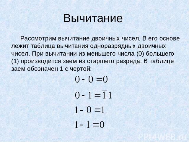 Вычитание Рассмотрим вычитание двоичных чисел. В его основе лежит таблица вычитания одноразрядных двоичных чисел. При вычитании из меньшего числа (0) большего (1) производится заем из старшего разряда. В таблице заем обозначен 1 с чертой: