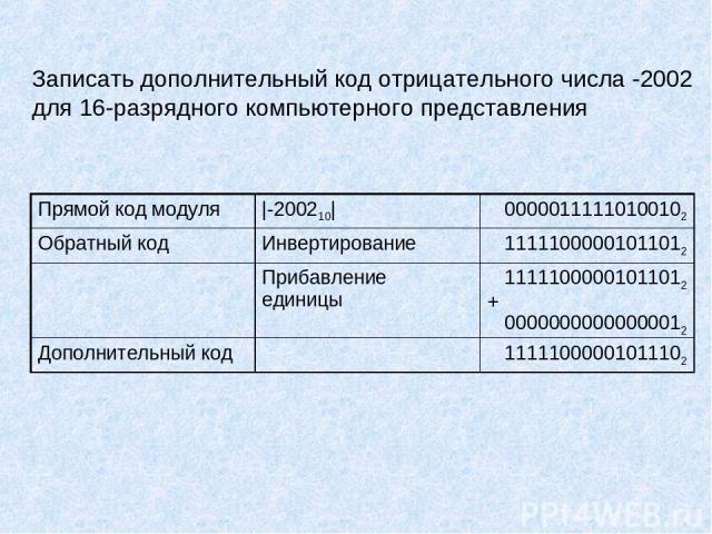 Записать дополнительный код отрицательного числа -2002 для 16-разрядного компьютерного представления