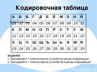Кодировочная таблица ЗАДАНИЕ: 1. Закодируйте 1 компьютерное устройство ввода инф
