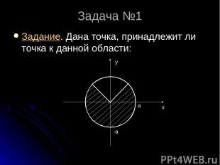 Задача №1 Задание. Дана точка, принадлежит ли точка к данной области: а x y -a