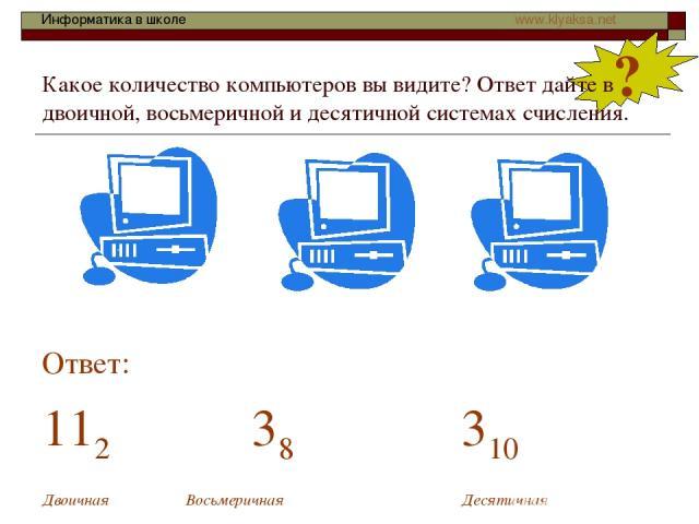 ? Какое количество компьютеров вы видите? Ответ дайте в двоичной, восьмеричной и десятичной системах счисления. Ответ: 112 38 310 Двоичная Восьмеричная Десятичная Информатика в школе www.klyaksa.net