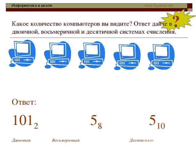 ? Какое количество компьютеров вы видите? Ответ дайте в двоичной, восьмеричной и десятичной системах счисления. Ответ: 1012 58 510 Двоичная Восьмеричная Десятичная Информатика в школе www.klyaksa.net