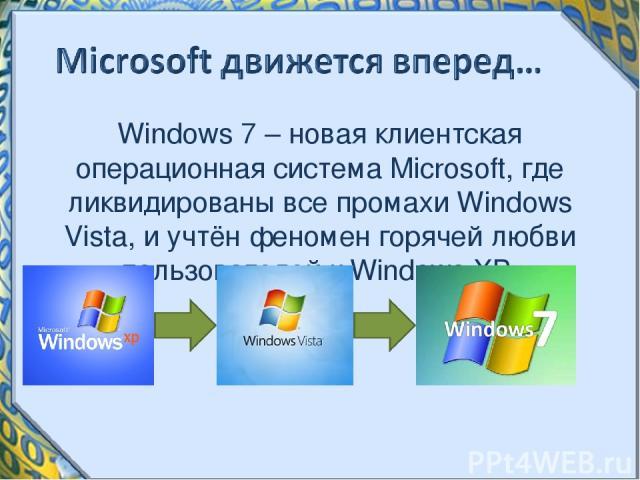 Windows 7 – новая клиентская операционная система Microsoft, где ликвидированы все промахи Windows Vista, и учтён феномен горячей любви пользователей к Windows XP.