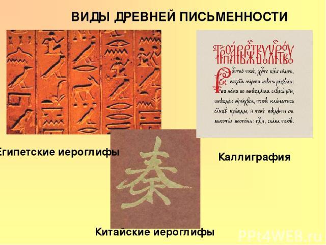 ВИДЫ ДРЕВНЕЙ ПИСЬМЕННОСТИ Египетские иероглифы Китайские иероглифы Каллиграфия