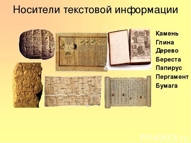 Носители текстовой информации Камень Глина Дерево Папирус Пергамент Бумага Береста