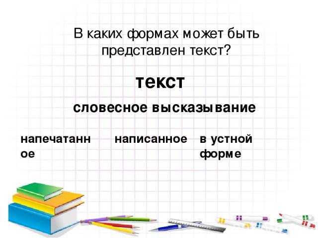 текст словесное высказывание напечатанное написанное в устной форме В каких формах может быть представлен текст?