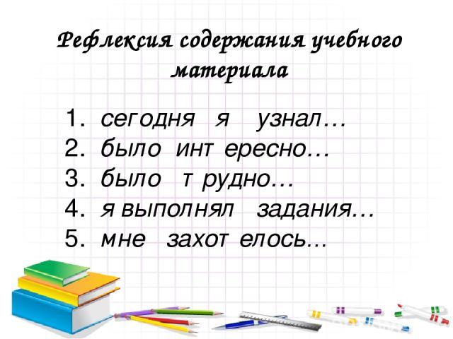 Рефлексия содержания учебного материала 1.сегодня я узнал… 2.было интересно… 3.было трудно… 4. я выполнял задания… 5.мне захотелось…