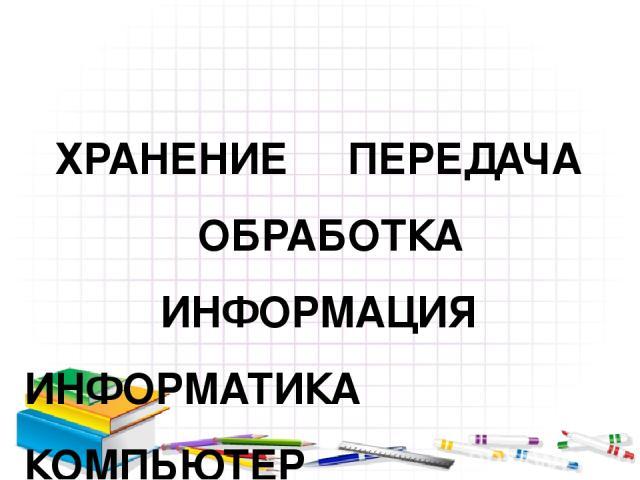 ХРАНЕНИЕ ПЕРЕДАЧА ОБРАБОТКА ИНФОРМАЦИЯ ИНФОРМАТИКА КОМПЬЮТЕР