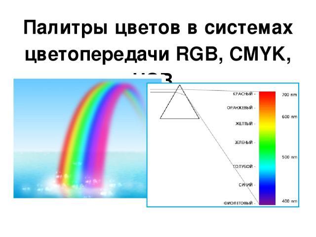 Палитры цветов в системах цветопередачи RGB, CMYK, HSB.