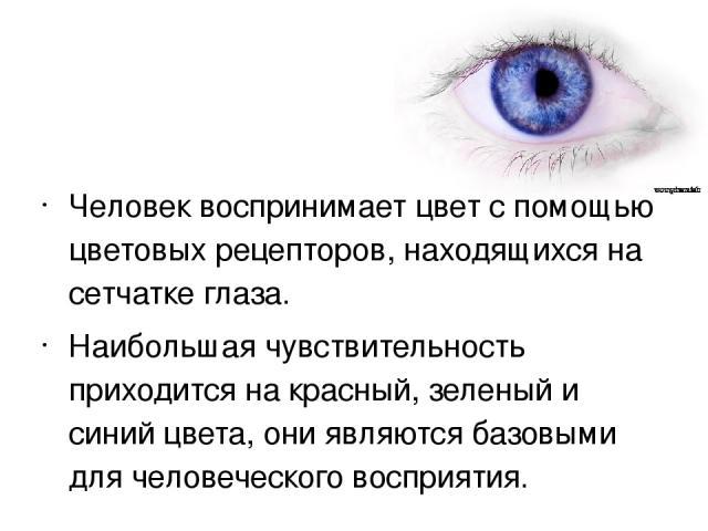 Человек воспринимает цвет с помощью цветовых рецепторов, находящихся на сетчатке глаза. Наибольшая чувствительность приходится на красный, зеленый и синий цвета, они являются базовыми для человеческого восприятия.