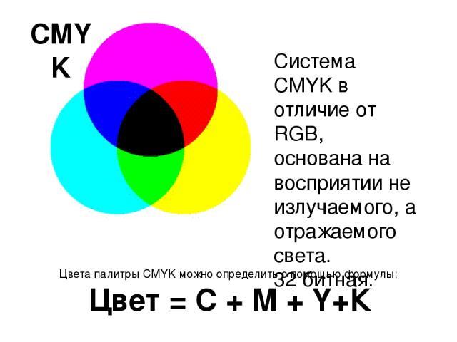CMYK Система CMYK в отличие от RGB, основана на восприятии не излучаемого, а отражаемого света. 32 битная. Цвета палитры CMYK можно определить с помощью формулы: Цвет = C + M + Y+К