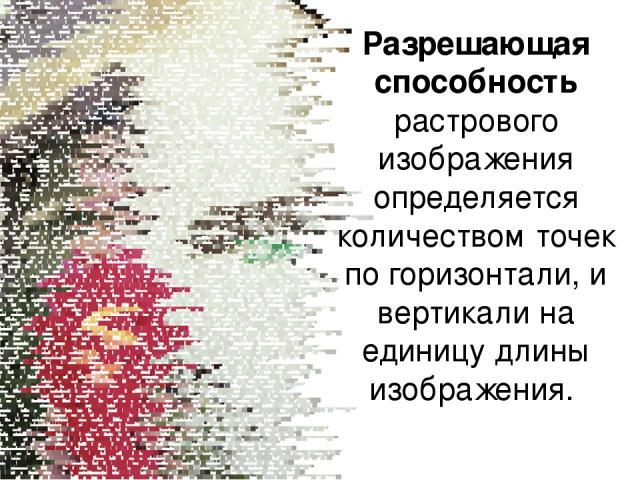Разрешающая способность растрового изображения определяется количеством точек по горизонтали, и вертикали на единицу длины изображения.