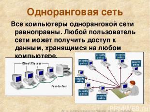 Одноранговая сеть Все компьютеры одноранговой сети равноправны. Любой пользовате