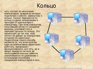 Кольцо сеть состоит из нескольких компьютеров, каждый из которых подключен к каб