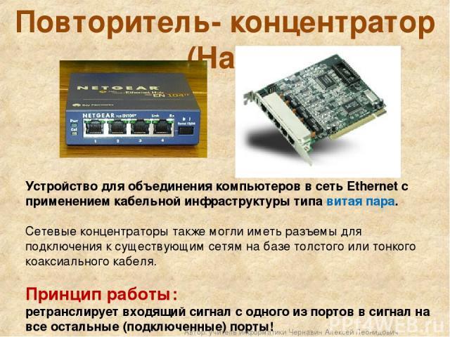 Повторитель- концентратор (Hab) Устройство для объединения компьютеров в сеть Ethernet c применением кабельной инфраструктуры типа витая пара. Сетевые концентраторы также могли иметь разъемы для подключения к существующим сетям на базе толстого или …