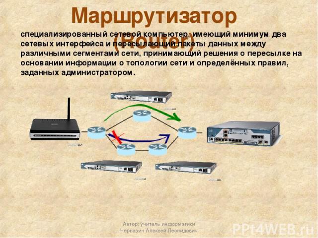 Маршрутизатор (Router) специализированный сетевой компьютер, имеющий минимум два сетевых интерфейса и пересылающий пакеты данных между различными сегментами сети, принимающий решения о пересылке на основании информации о топологии сети и определённы…