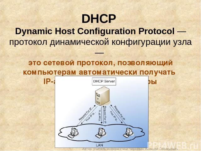 DHCP Dynamic Host Configuration Protocol — протокол динамической конфигурации узла — это сетевой протокол, позволяющий компьютерам автоматически получать IP-адрес и другие параметры Автор: учитель информатики Чернавин Алексей Леонидович Автор: учите…