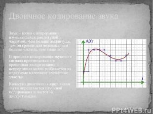 Двоичное кодирование звука Звук – волна с непрерывно изменяющейся амплитудой и ч