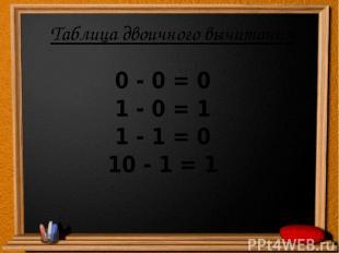Таблица двоичного вычитания 0 - 0 = 0 1 - 0 = 1 1 - 1 = 0 10 - 1 = 1