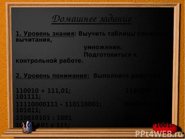 Домашнее задание 1. Уровень знания: Выучить таблицы сложения, вычитания, умножения. Подготовиться к контрольной работе. 2. Уровень понимания: Выполните действия: 110010 + 111,01; 1101001 – 101111; 11110000111 – 110110001; 100011001 + 101011; 1100101…