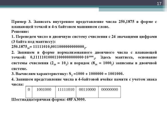 * Пример 3. Записать внутреннее представление числа 250,1875 в форме с плавающей точкой в 4-х байтовом машинном слове. Решение: 1. Переведем число в двоичную систему счисления с 24 значащими цифрами (3 байта под мантиссу): 250.187510= 11111010,00110…