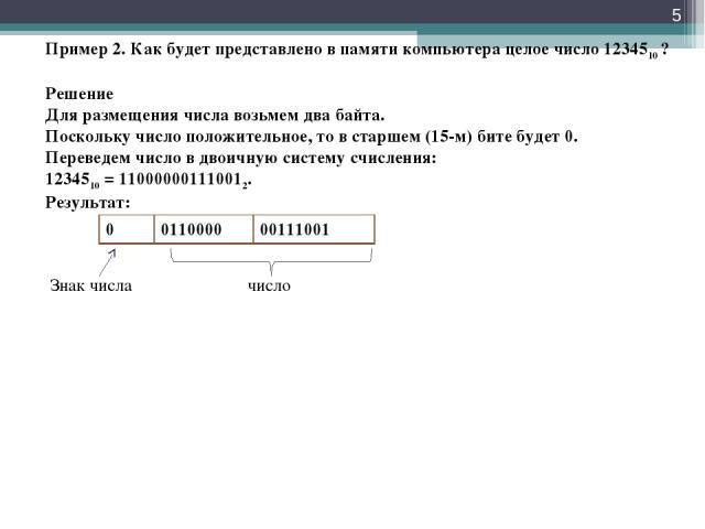 * Пример 2. Как будет представлено в памяти компьютера целое число 1234510 ? Решение Для размещения числа возьмем два байта. Поскольку число положительное, то в старшем (15-м) бите будет 0. Переведем число в двоичную систему счисления: 1234510 = 110…
