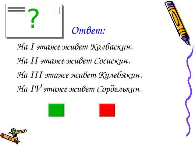 Ответ: На I этаже живет Колбаскин. На II этаже живет Сосискин. На III этаже живет Кулебякин. На IV этаже живет Сорделькин. ?