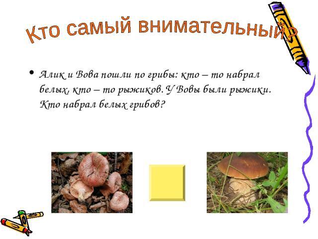 Алик и Вова пошли по грибы: кто – то набрал белых, кто – то рыжиков. У Вовы были рыжики. Кто набрал белых грибов?