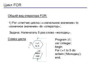 Общий вид оператора FOR: Цикл FOR 1) For := to do ; Задача. Напечатать 5 раз сло