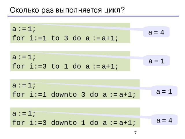 Сколько раз выполняется цикл? a := 1; for i:=1 to 3 do a := a+1; a = 4 a := 1; for i:=3 to 1 do a := a+1; a = 1 a := 1; for i:=1 downto 3 do a := a+1; a = 1 a := 1; for i:=3 downto 1 do a := a+1; a = 4