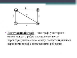 Нагруженный граф - это граф, у которого около каждого ребра проставлено число, х