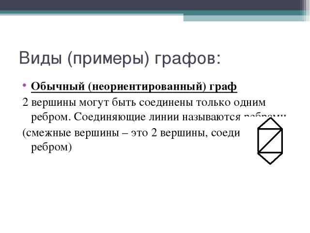 Виды (примеры) графов: Обычный (неориентированный) граф 2 вершины могут быть соединены только одним ребром. Соединяющие линии называются ребрами. (смежные вершины – это 2 вершины, соединенные ребром)