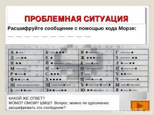 ПРОБЛЕМНАЯ СИТУАЦИЯ Расшифруйте сообщение с помощью кода Морзе: __ __ __ __ __ _