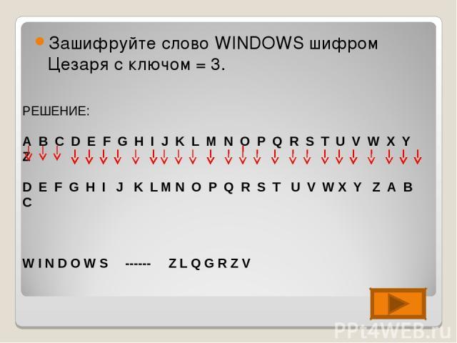 Зашифруйте слово WINDOWS шифром Цезаря с ключом = 3. РЕШЕНИЕ: A B C D E F G H I J K L M N O P Q R S T U V W X Y Z D E F G H I J K L M N O P Q R S T U V W X Y Z A B C W I N D O W S ------ Z L Q G R Z V