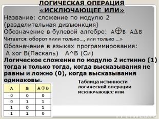 ЛОГИЧЕСКАЯ ОПЕРАЦИЯ «ИСКЛЮЧАЮЩЕЕ ИЛИ» Название: сложение по модулю 2 (разделител