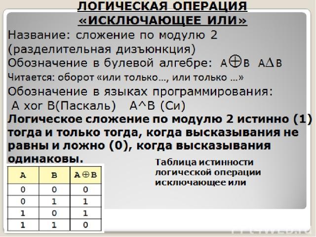 ЛОГИЧЕСКАЯ ОПЕРАЦИЯ «ИСКЛЮЧАЮЩЕЕ ИЛИ» Название: сложение по модулю 2 (разделительная дизъюнкция) Обозначение в булевой алгебре: A B А В Читается: оборот «или только…, или только …» Обозначение в языках программирования: А xor B(Паскаль) А^B (Си) Лог…