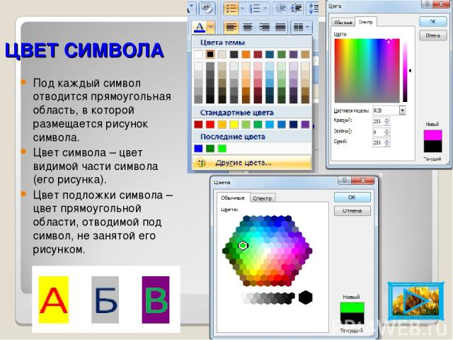 ЦВЕТ СИМВОЛА Под каждый символ отводится прямоугольная область, в которой размещается рисунок символа. Цвет символа – цвет видимой части символа (его рисунка). Цвет подложки символа – цвет прямоугольной области, отводимой под символ, не занятой его …