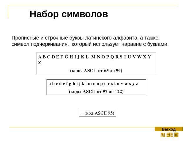 Прописные и строчные буквы латинского алфавита, а также символ подчеркивания, который использует наравне с буквами. Набор символов A B C D E F G H I J K L M N O P Q R S T U V W X Y Z (коды ASCII от 65 до 90) a b c d e f g h i j k l m n o p q r s t u…
